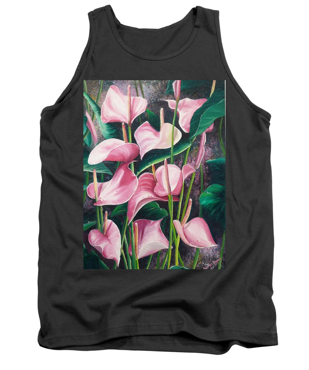 Floral Flowers Lilies Pink Tank Top featuring the painting Pink Anthuriums by Karin Dawn Kelshall- Best