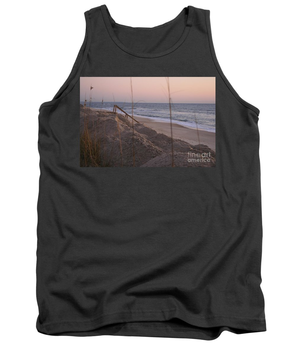 Pink Tank Top featuring the photograph Pink Sunrise On The Beach by Nadine Rippelmeyer