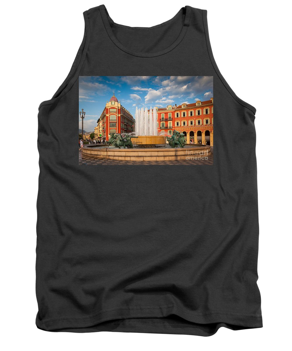 Cote D'azur Tank Top featuring the photograph Place Massena At Dusk by Inge Johnsson