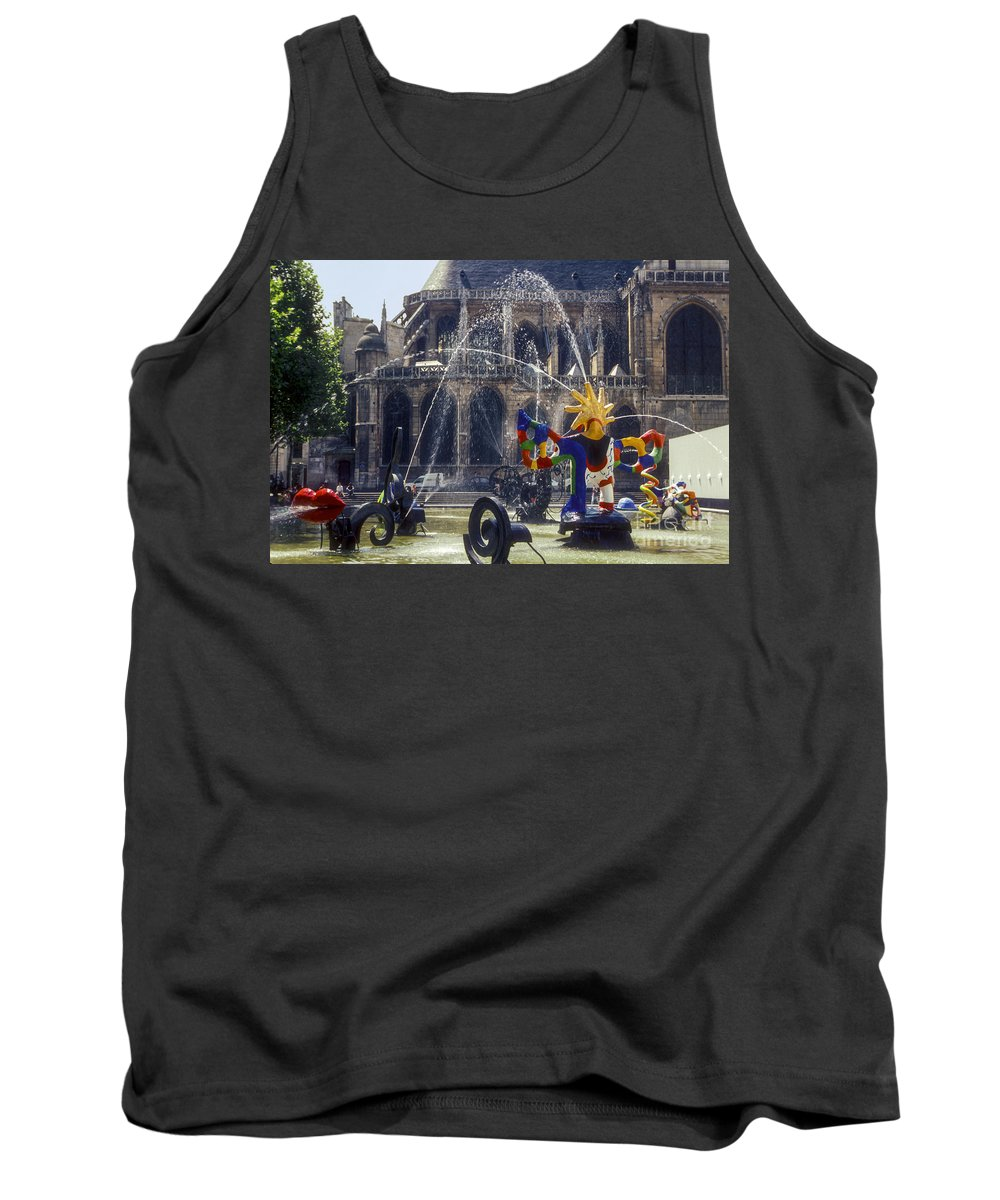 Paroisse Saint Merry Paris France Playground Playgrounds Church Churches Building Buildings Structure Structures Architecture City Cities Cityscape Cityscapes Fountain Fountains Tank Top featuring the photograph Playground by Bob Phillips