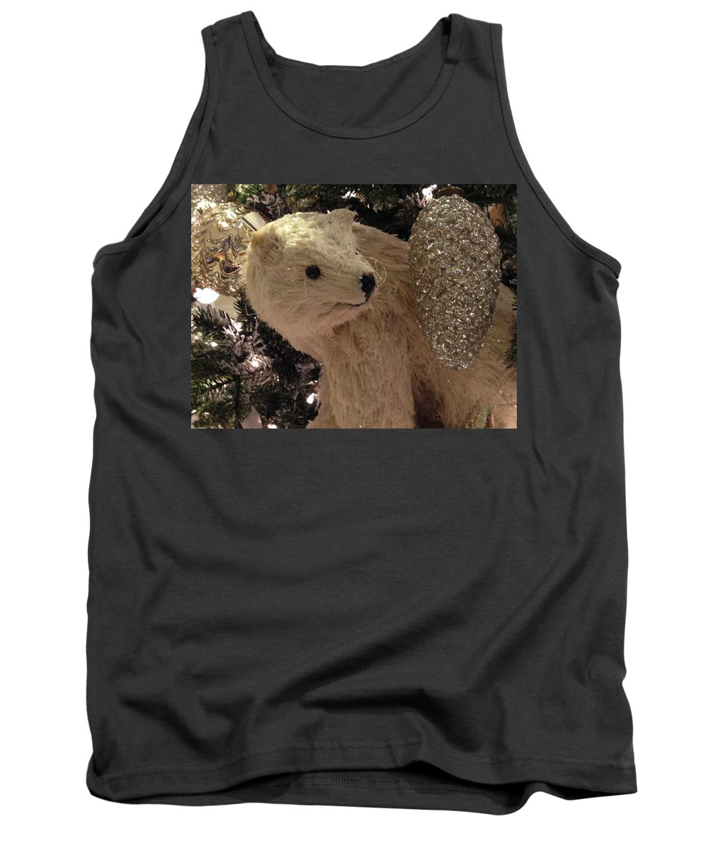 Tree Tank Top featuring the photograph Polar Bear With Ornaments by Hope VanCleaf