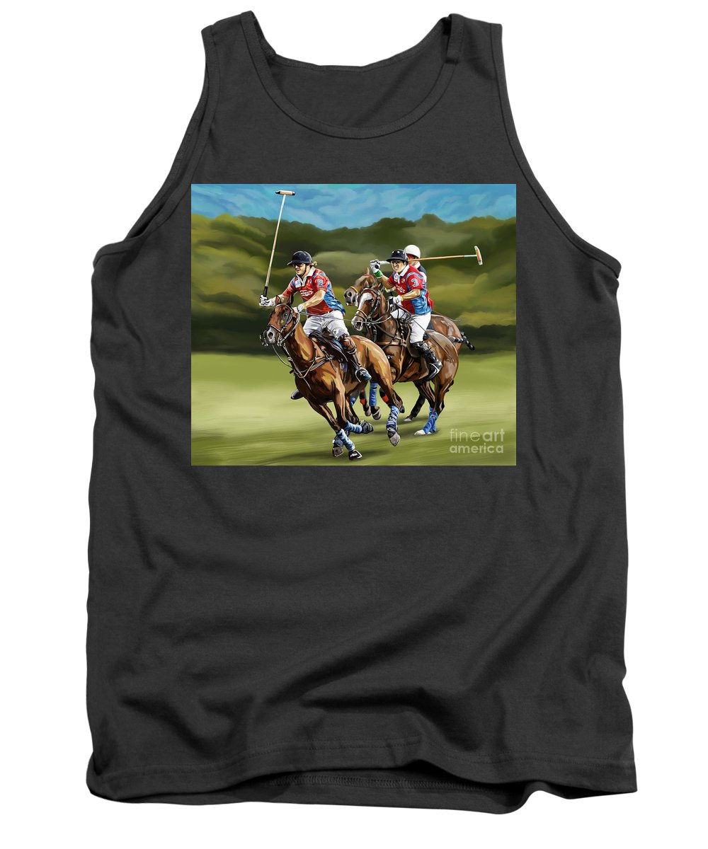 Polo Tank Top featuring the painting Polo Game Horses by Tim Gilliland