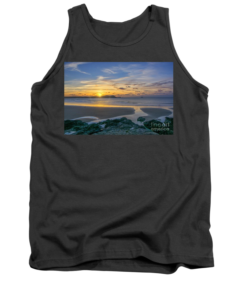 Cornwall Prints Tank Top featuring the photograph Polzeath Sunset 3 by Chris Thaxter