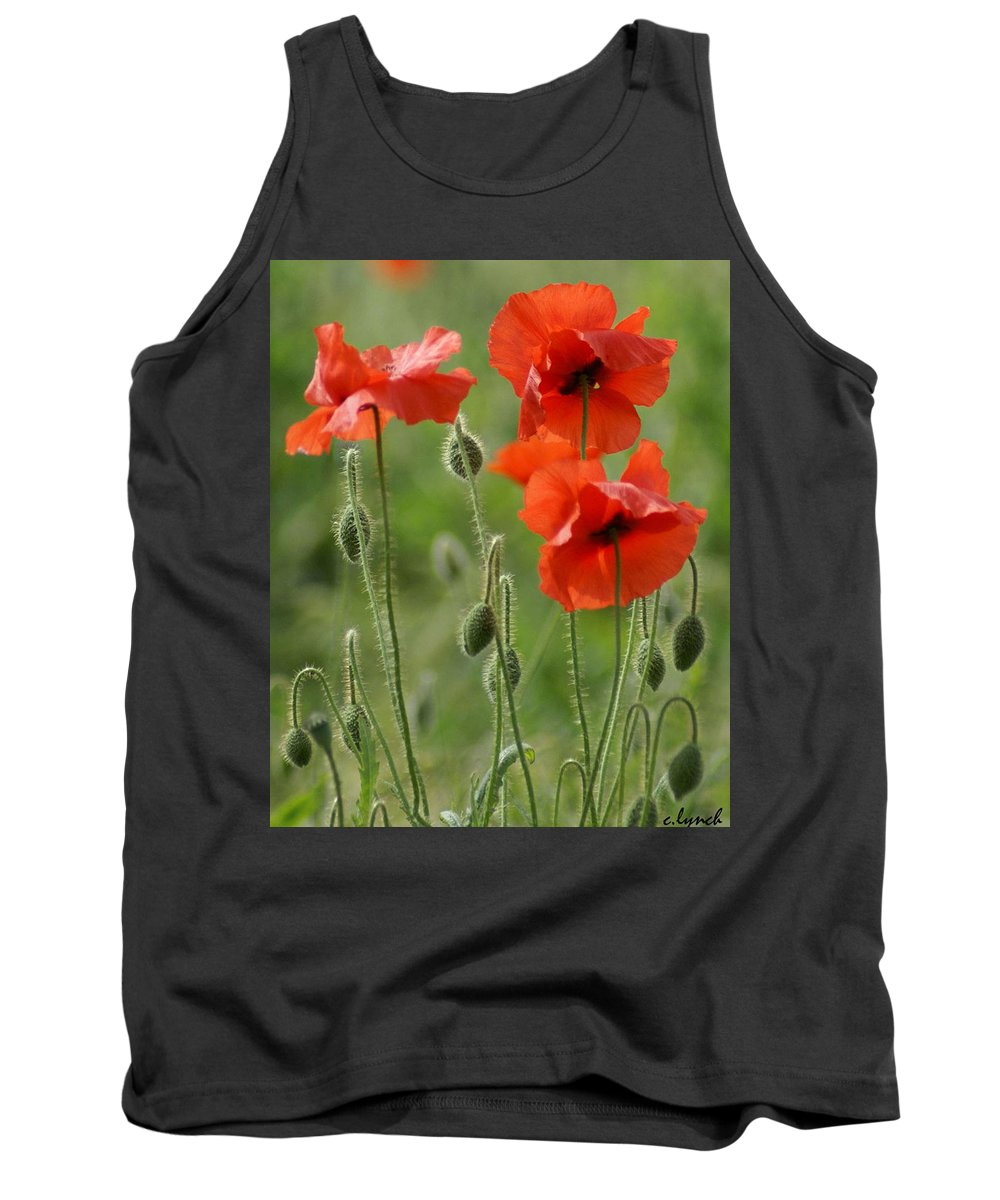 Poppies Tank Top featuring the photograph Poppies 2 by Carol Lynch