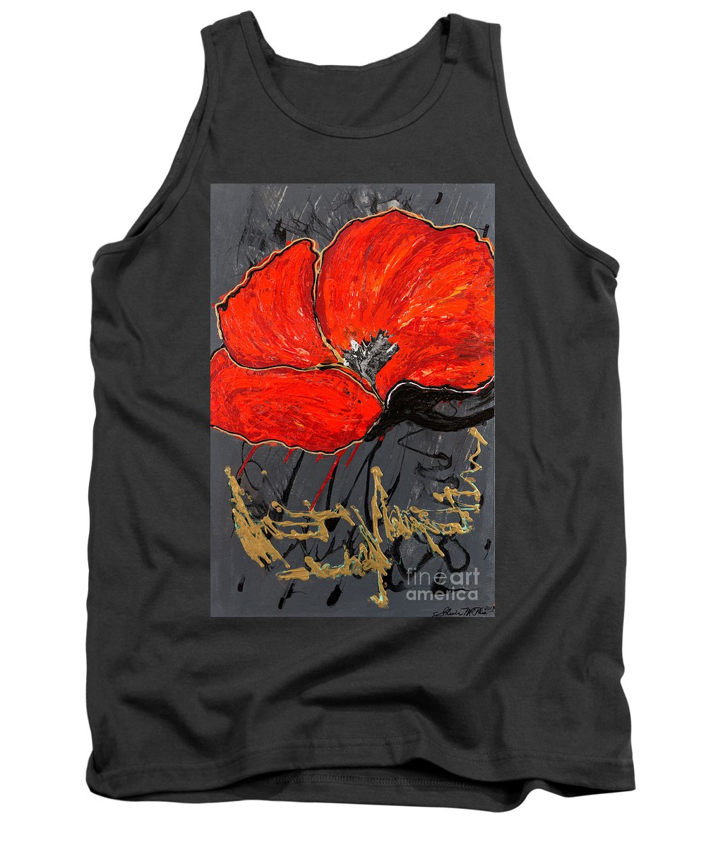 Poppy Tank Top featuring the painting Poppy 43 by Sheila McPhee