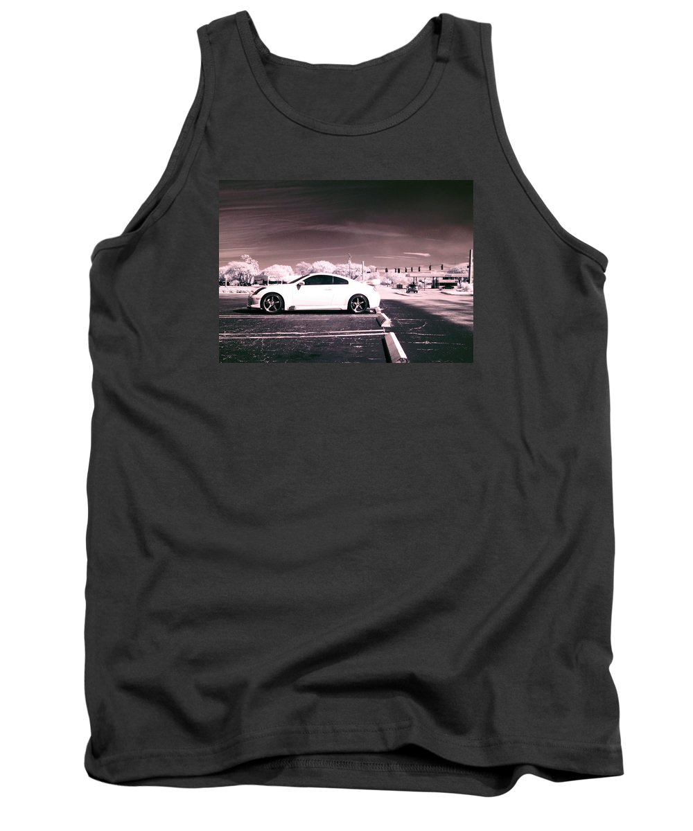 America Tank Top featuring the photograph Porsche Car Side Profile Pink Near Infrared by Sally Rockefeller