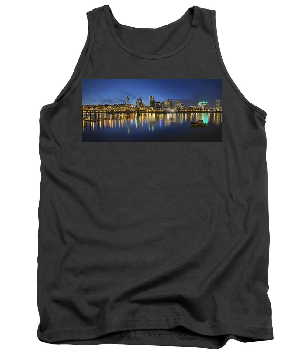 Portland Tank Top featuring the photograph Portland Downtown With Hawthorne Bridge At Blue Hour by Jit Lim