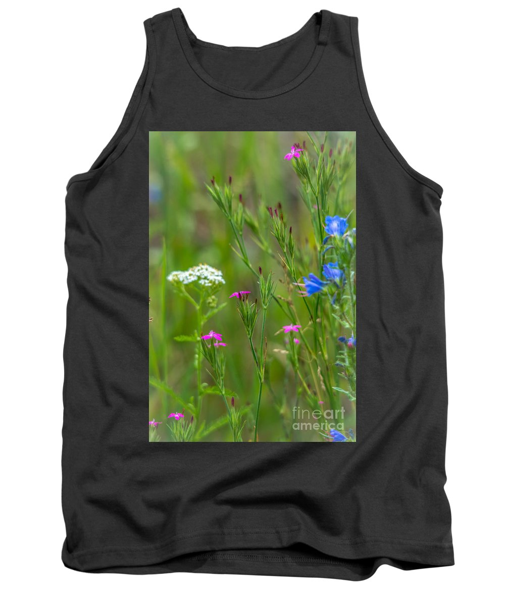 Pink Flowers Tank Top featuring the photograph Portrait Of Wildflowers by Cheryl Baxter