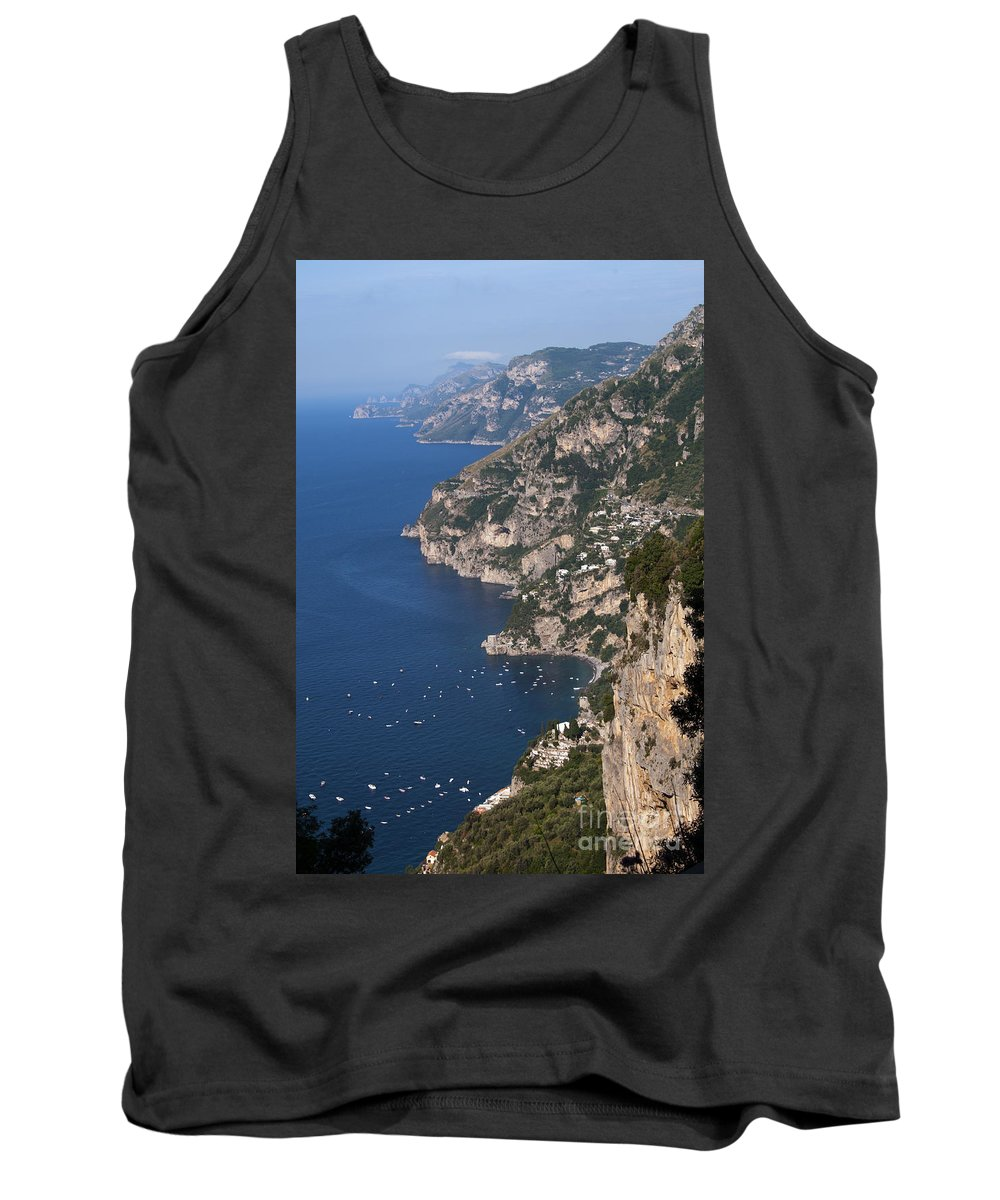 Postitano Italy Amalfi Coast Mediterranean Sea Seas Water Boat Boats Building Buildings Structure Structures Architecture Landscape Landscapes Waterscape Waterscapes Cityscape Cityscapes City Cities Tank Top featuring the photograph Postitano From Up High by Bob Phillips