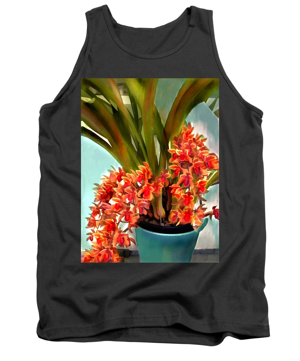 Orchid Orchids Cattleya Tropics Tropical Flower Floral Plant Botanical Tank Top featuring the painting Pot Of Rust Orange Orchids by Elaine Plesser
