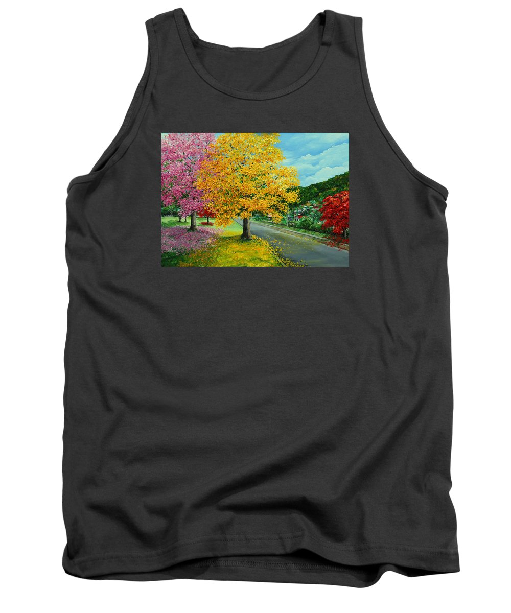 Poui Trees Tank Top featuring the painting Poui In Diego by Karin Dawn Kelshall- Best