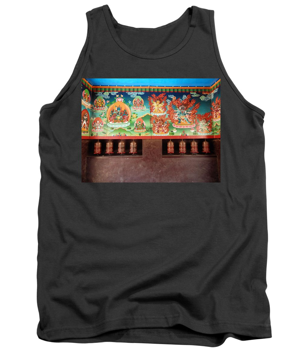 Prayer Tank Top featuring the photograph Prayer Wheels And Paintings by Pema Hou