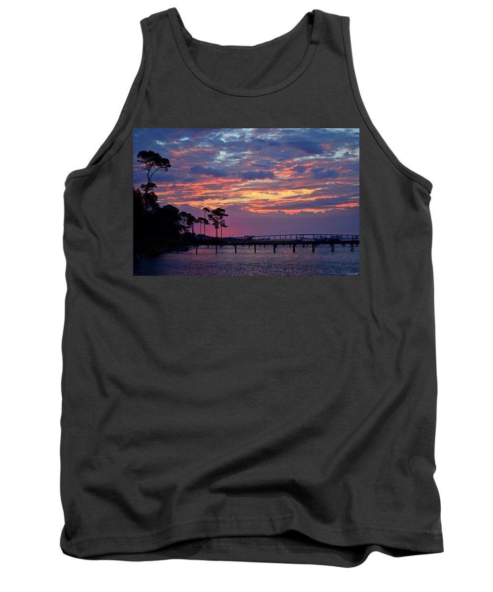 Pre-dawn Tank Top featuring the photograph Pre-dawn Colors On Santa Rosa Sound by Jeff at JSJ Photography
