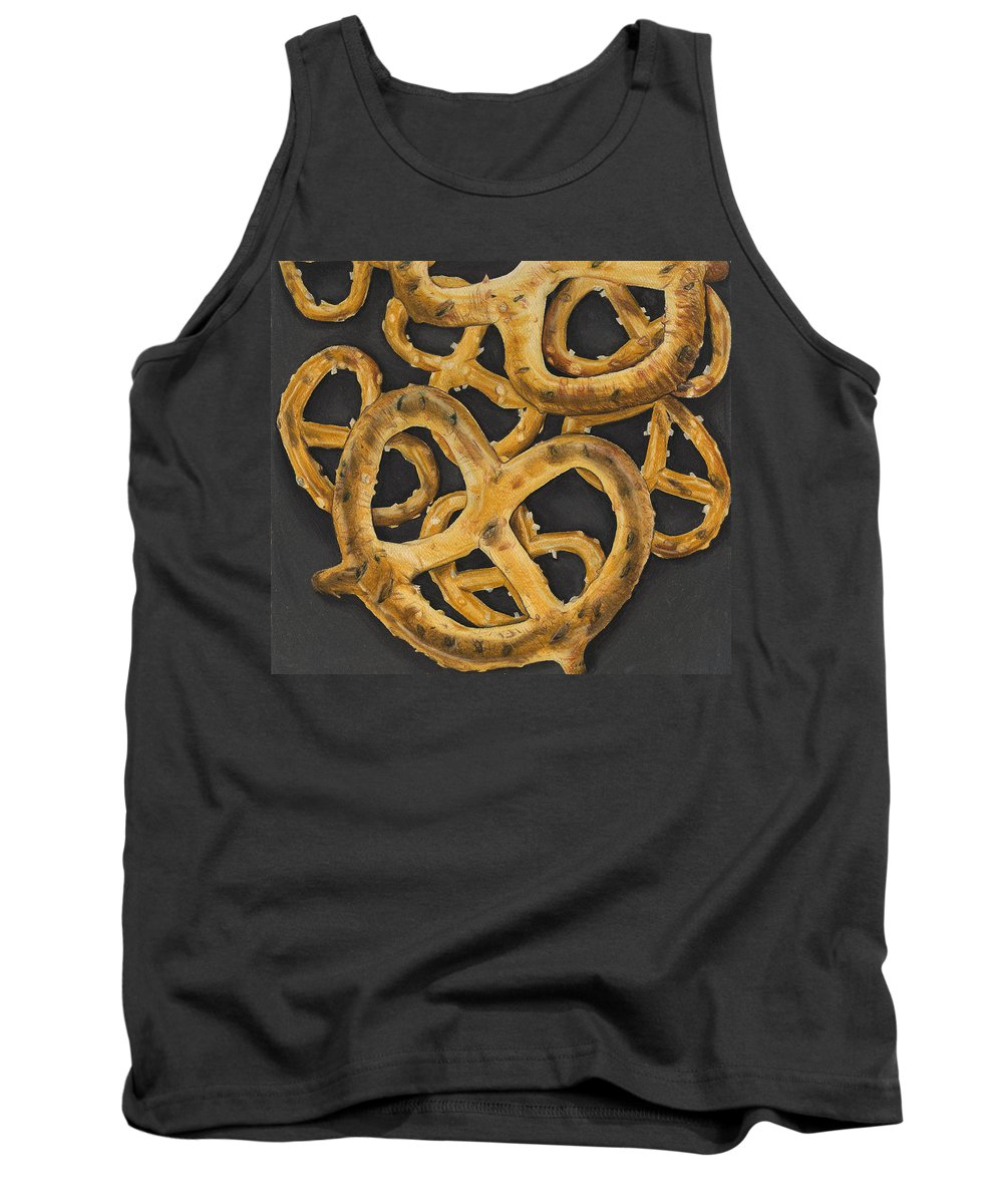 Food Tank Top featuring the drawing Pretzels Study by Jennifer Hotai