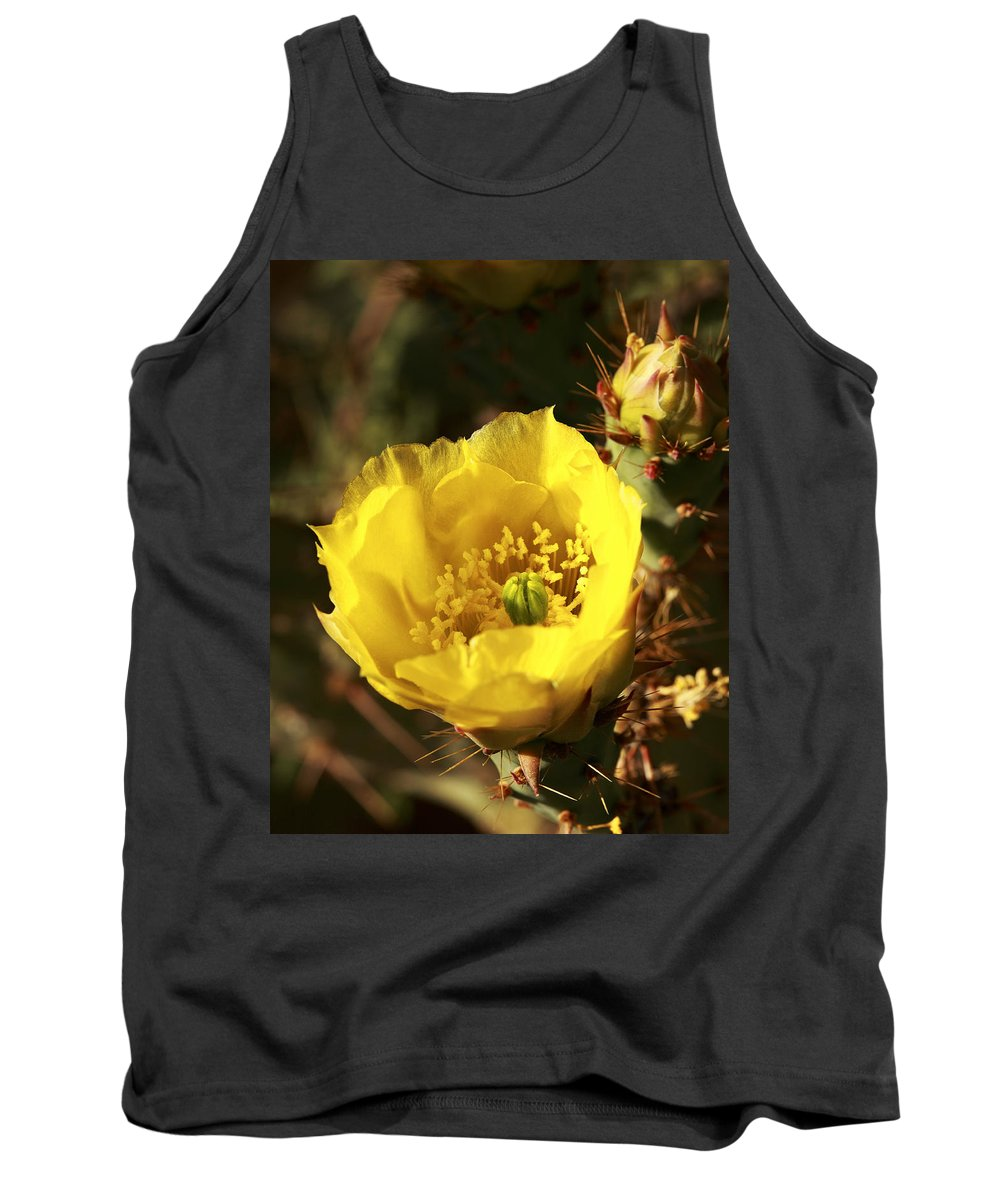Cactus Tank Top featuring the photograph Prickly Pear Flower by Alan Vance Ley