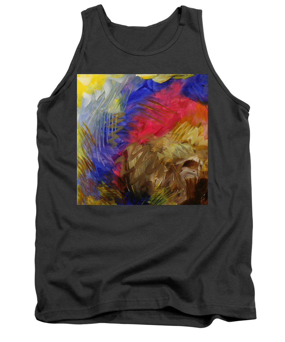 Abstract Tank Top featuring the painting Primarily Abstract by Julianne Hunter