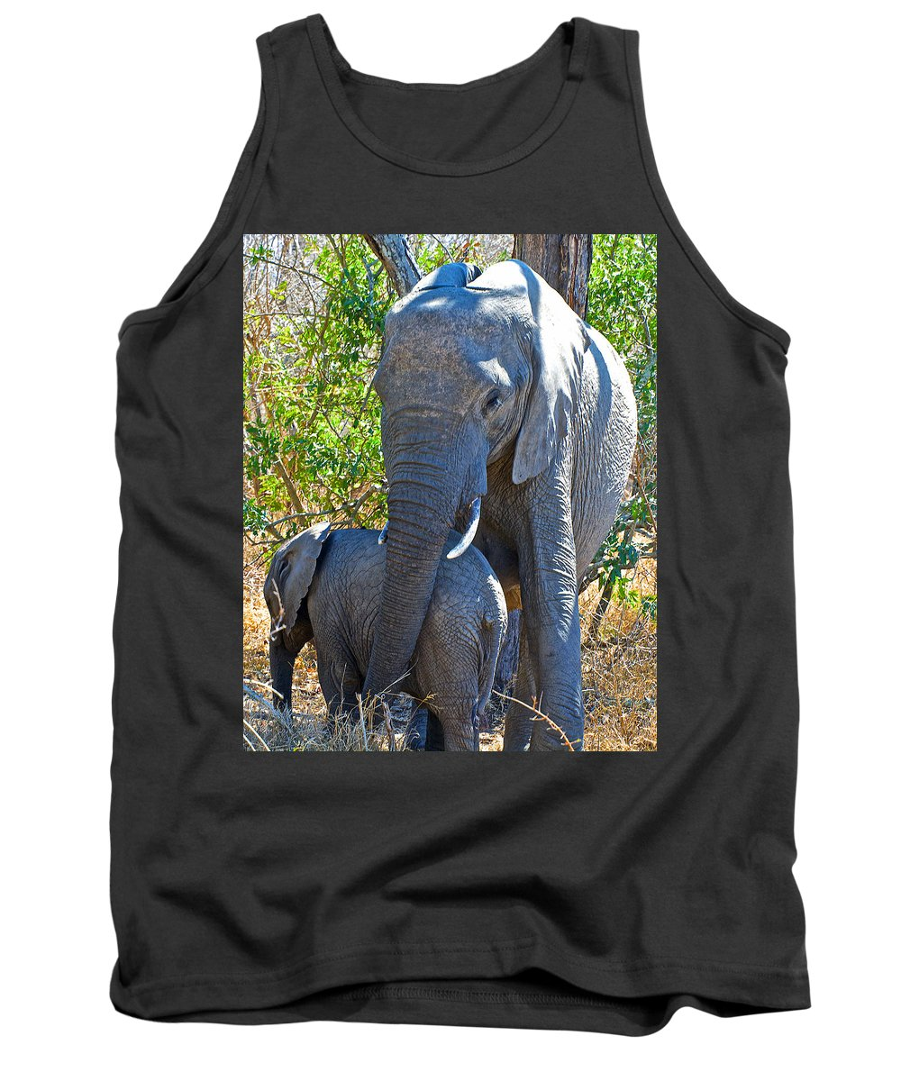 Protective Mother Elephant In Kruger National Park Tank Top featuring the photograph Protective Mother Elephant In Kruger National Park-south Africa by Ruth Hager