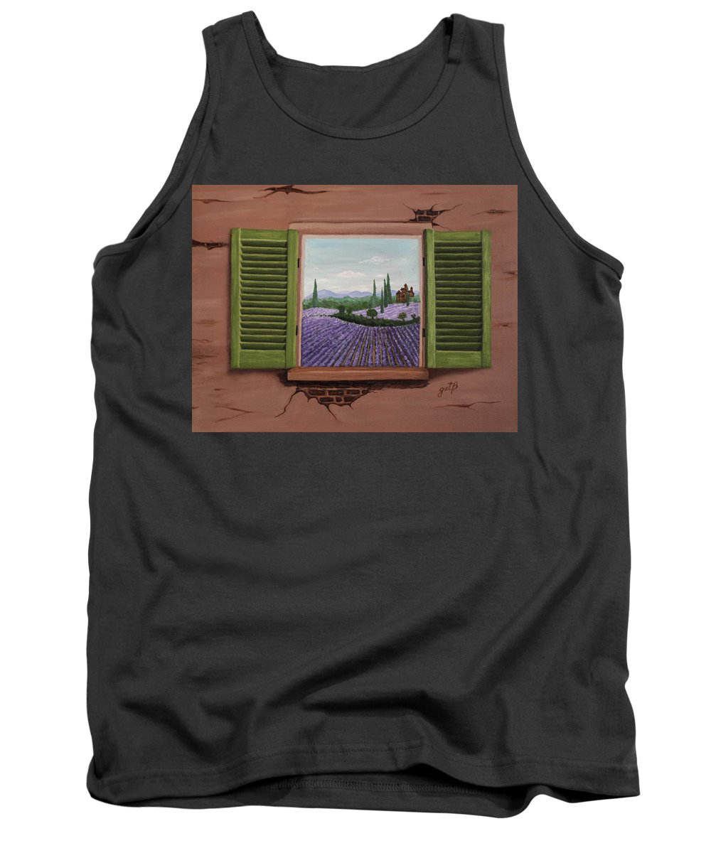 Provence Tank Top featuring the painting Provence Lavander Fields Original Acrylic by Georgeta Blanaru