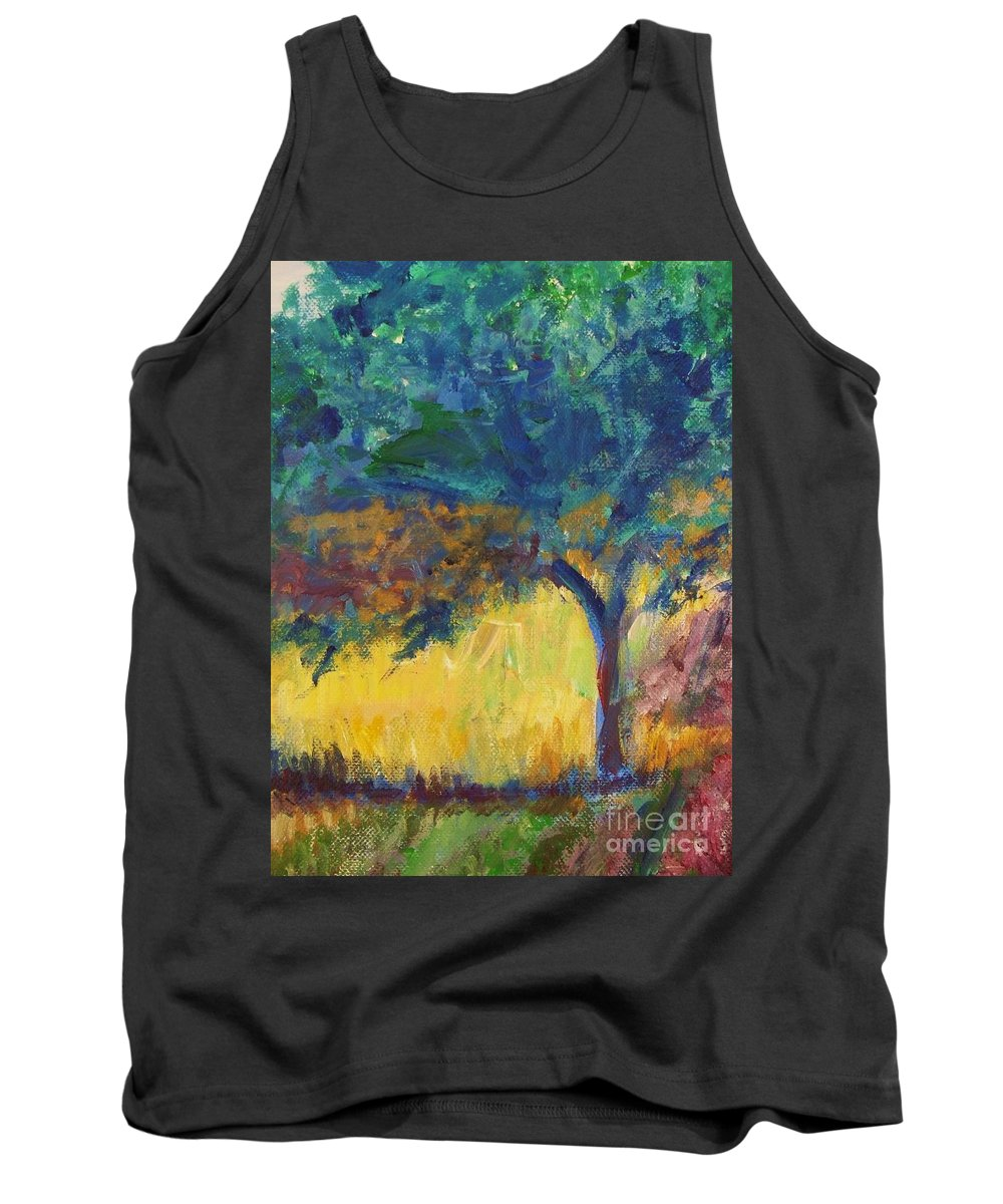 Provence Tank Top featuring the painting Provence Tree by Eric Schiabor