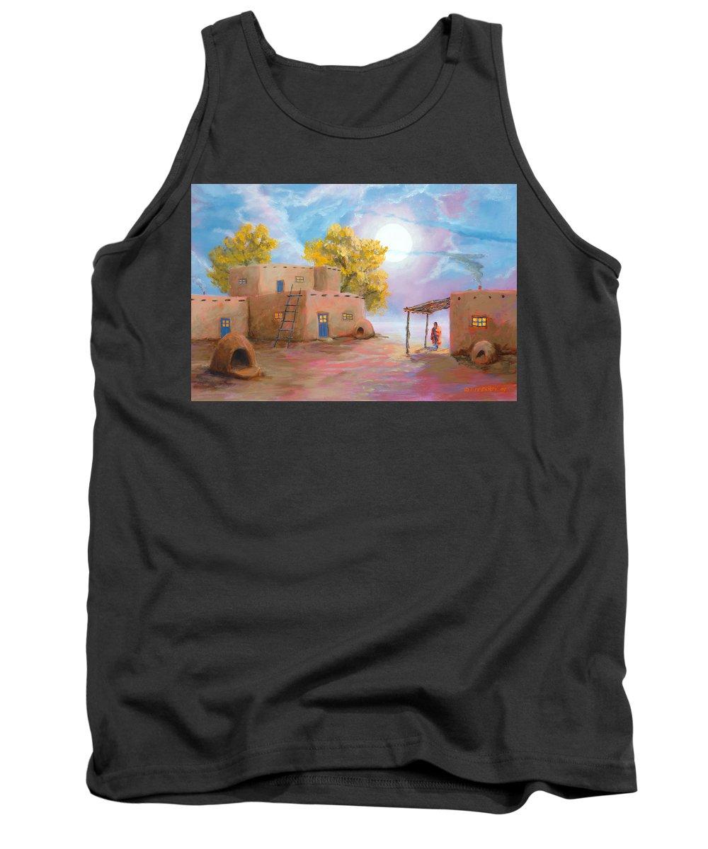 Pueblo Tank Top featuring the painting Pueblo De Las Lunas by Jerry McElroy