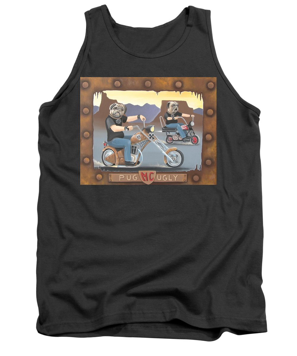 Pug Tank Top featuring the painting Pug Ugly M.c. by Stuart Swartz