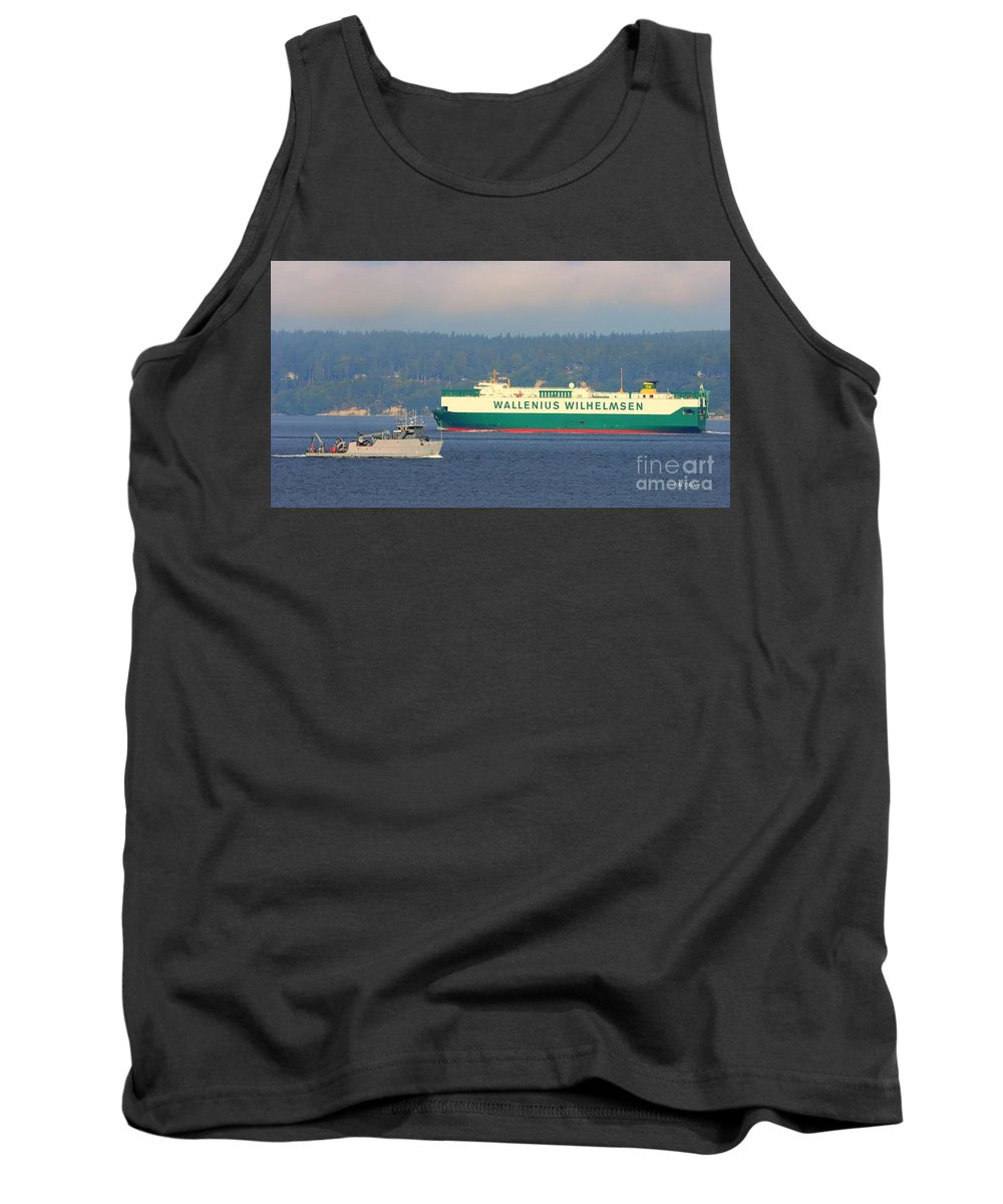Puget Sound Tank Top featuring the photograph Puget Sound Shipping Waterway by Tap On Photo