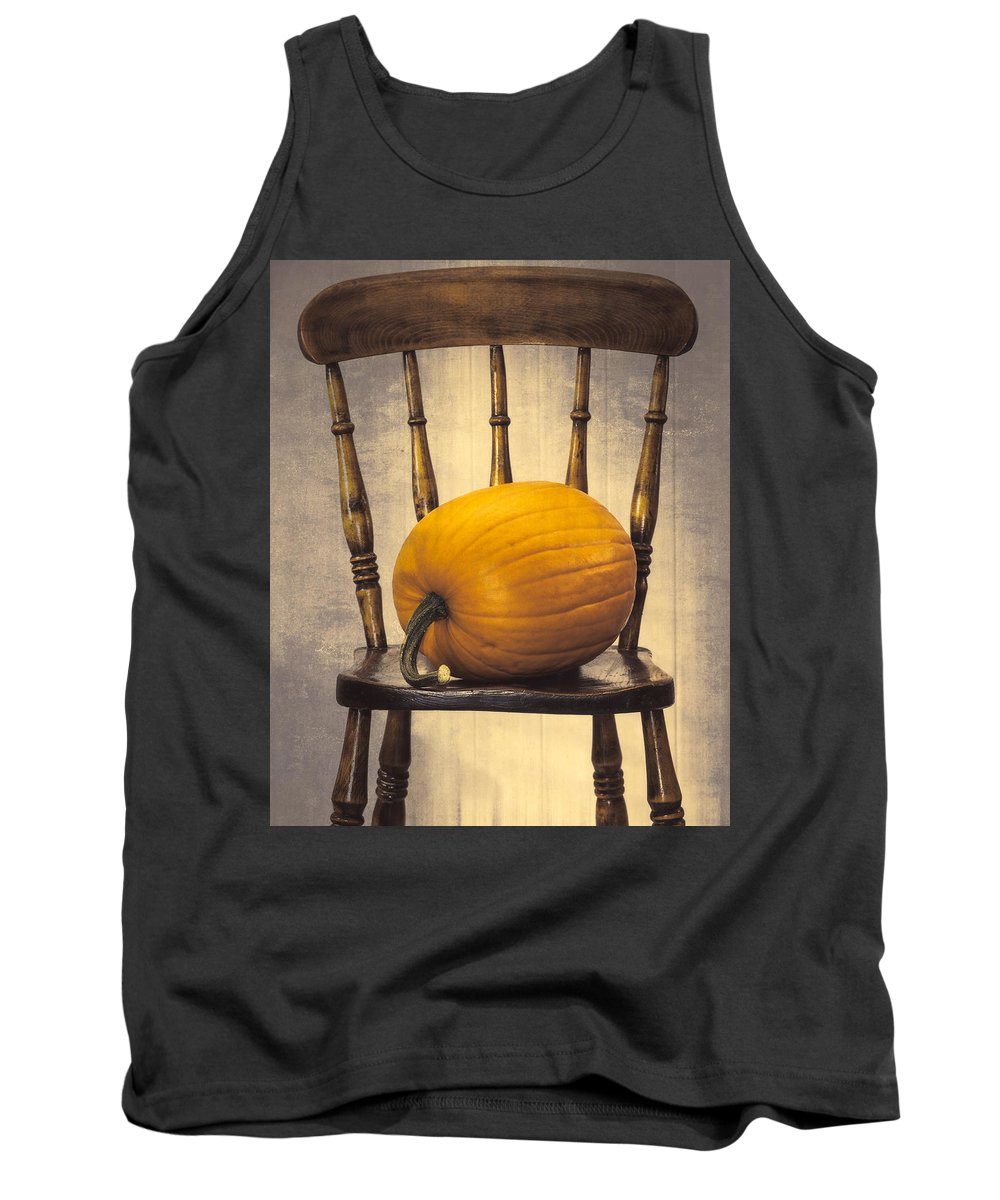 Pumpkins Tank Top featuring the photograph Pumpkin On Chair by Amanda Elwell