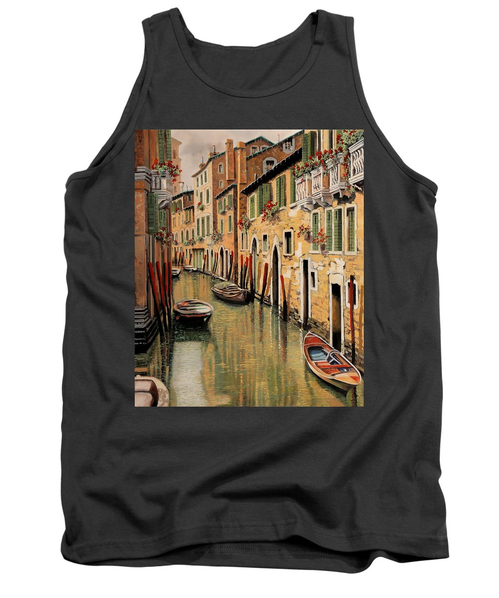 Red Dock Tank Top featuring the painting Punte Rosse A Venezia by Guido Borelli