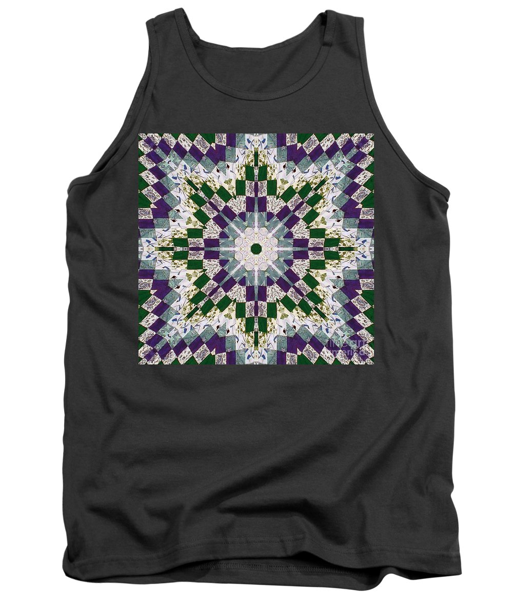 Patchwork Tank Top featuring the photograph Purple And Green Patchwork Art by Barbara Griffin
