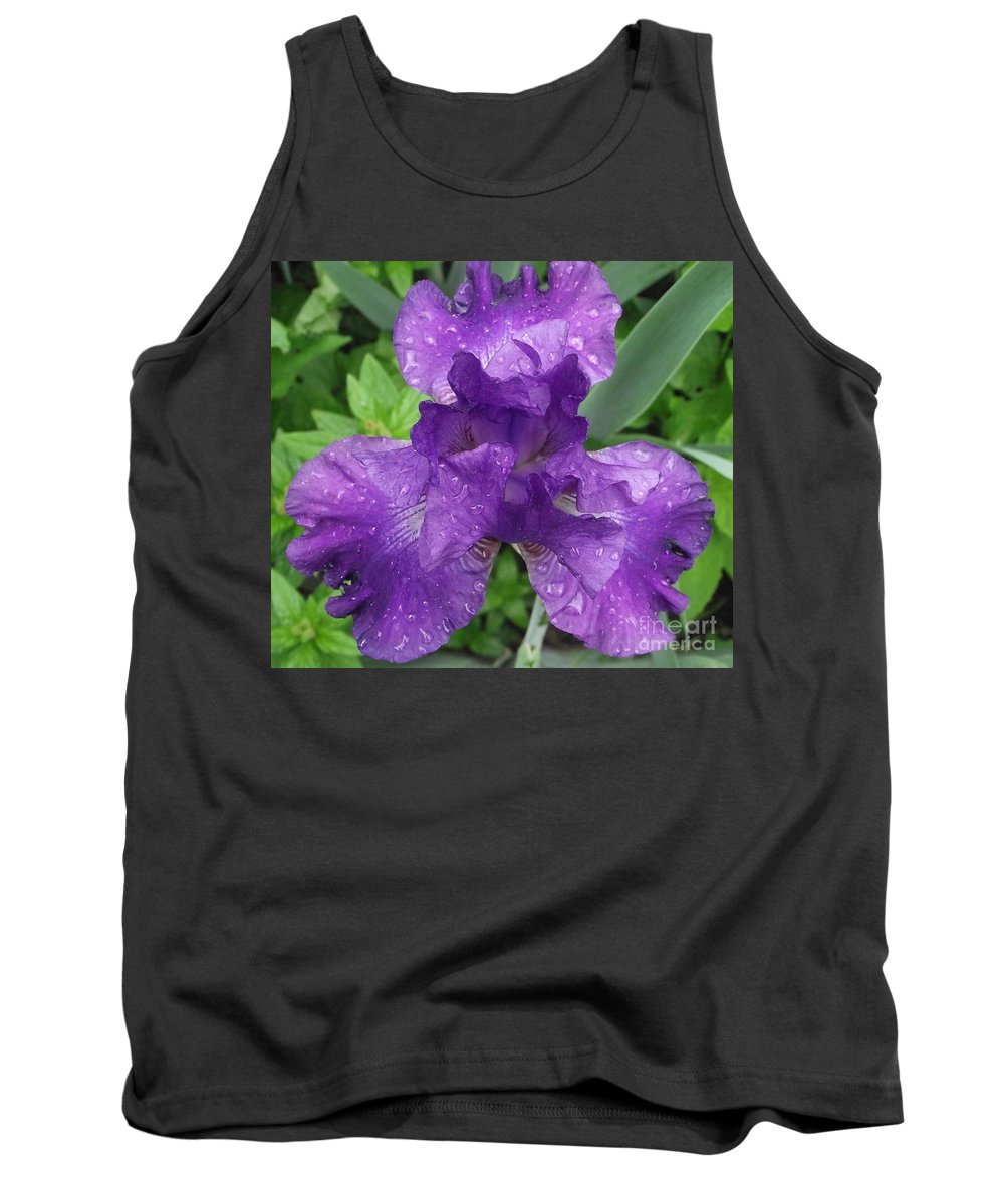 Purple Flower Tank Top featuring the photograph Purple Iris After The Rain by Michelle Welles