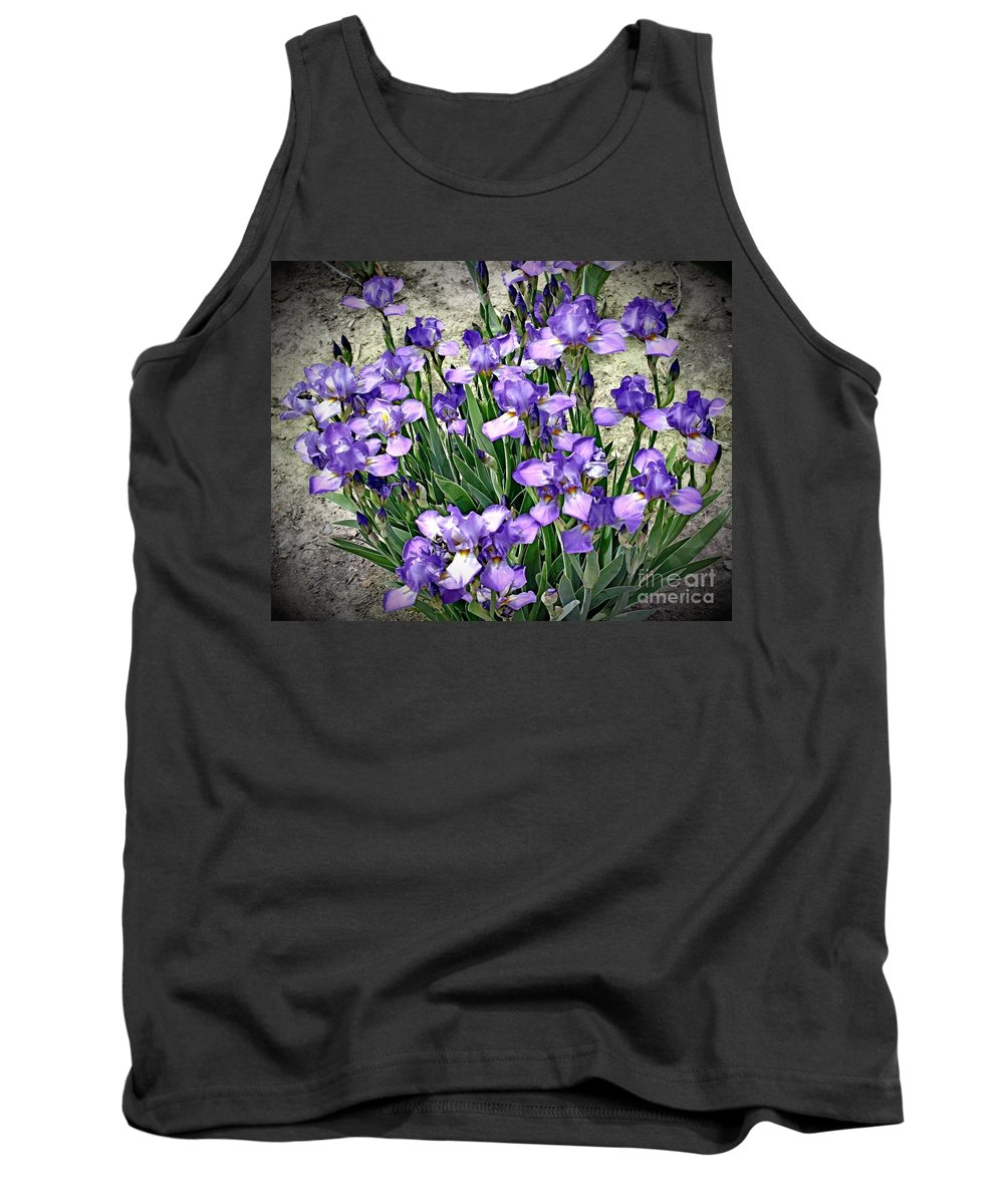 Iris Tank Top featuring the photograph Purple Irises by The Art of Alice Terrill