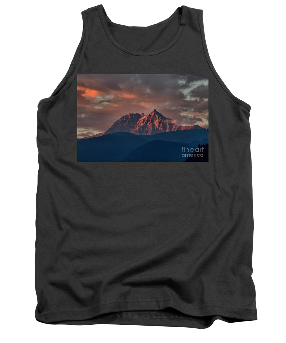 British Columbia Sunset Tank Top featuring the photograph Purple Tantalus Mountain Peaks by Adam Jewell