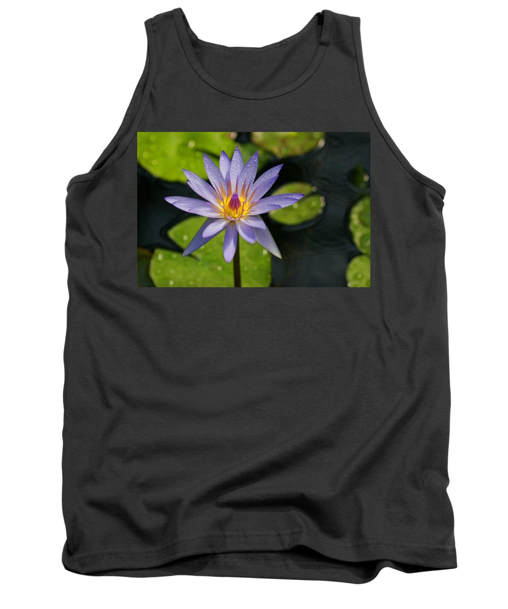 Bloom Tank Top featuring the photograph Purple Water Lily by Christine Mariner