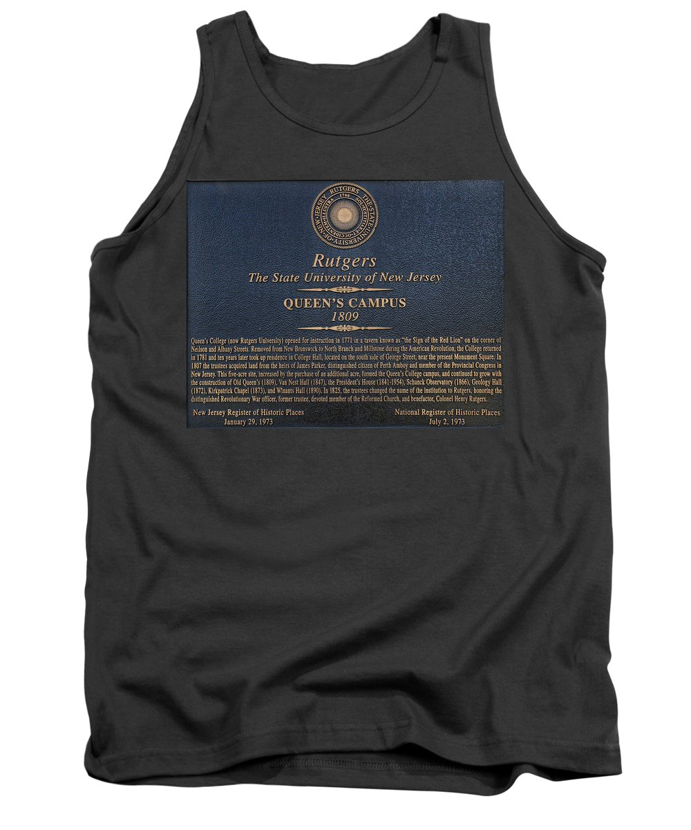 Rutgers Tank Top featuring the photograph Queen's Campus - Commemorative Plaque by Allen Beatty