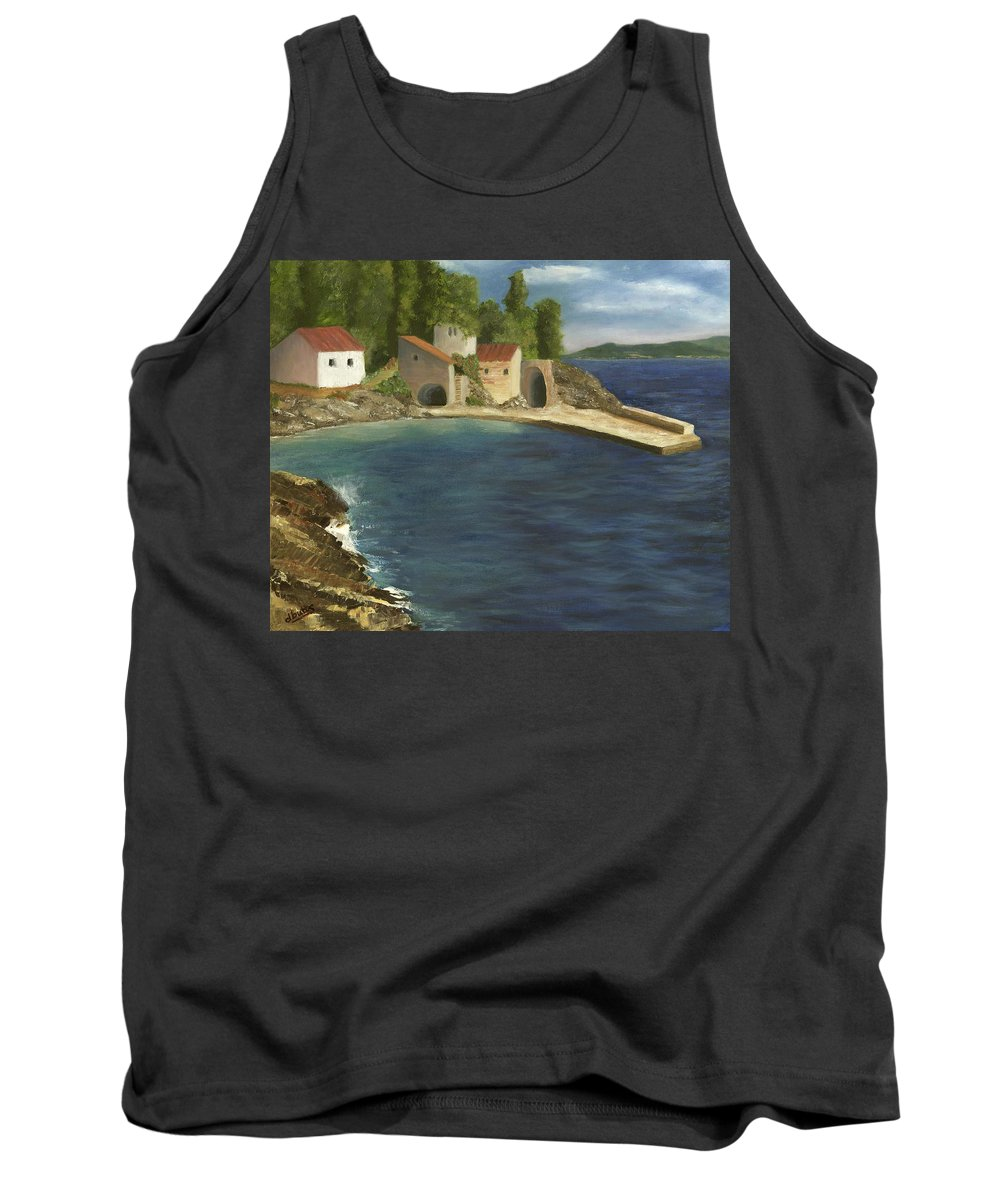 Seascapes Tank Top featuring the painting Quiet Cove by Deborah Butts