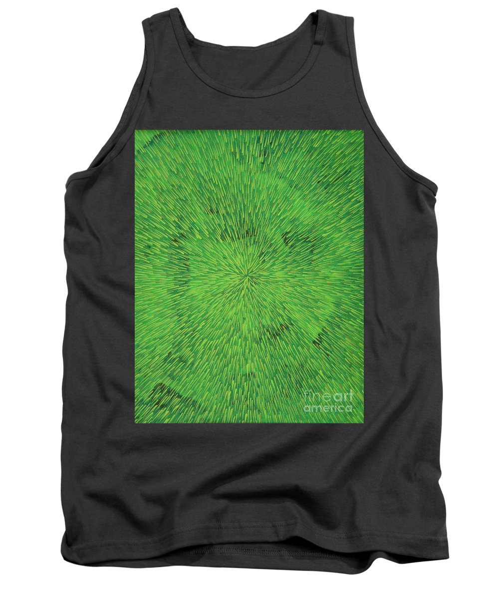 Abstract Tank Top featuring the painting Radiation Green by Dean Triolo