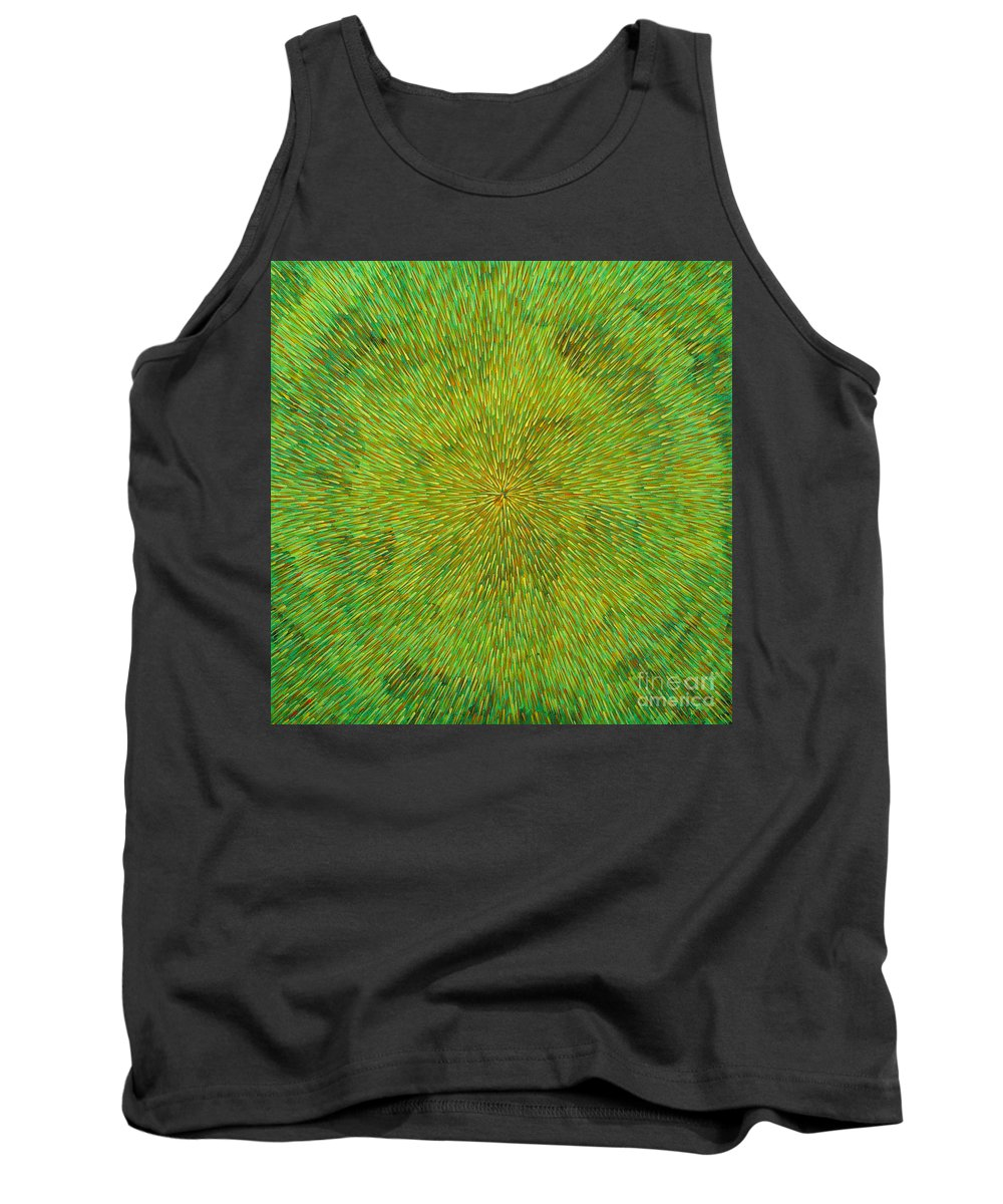 Abstract Tank Top featuring the painting Radiation With Green Yellow And Orange by Dean Triolo