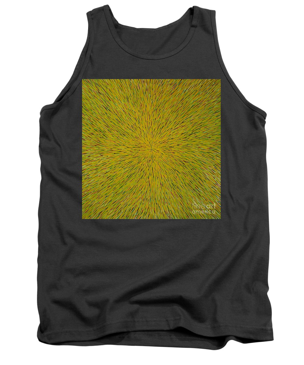 Abstract Tank Top featuring the painting Radiation With Yellow Green And Red by Dean Triolo