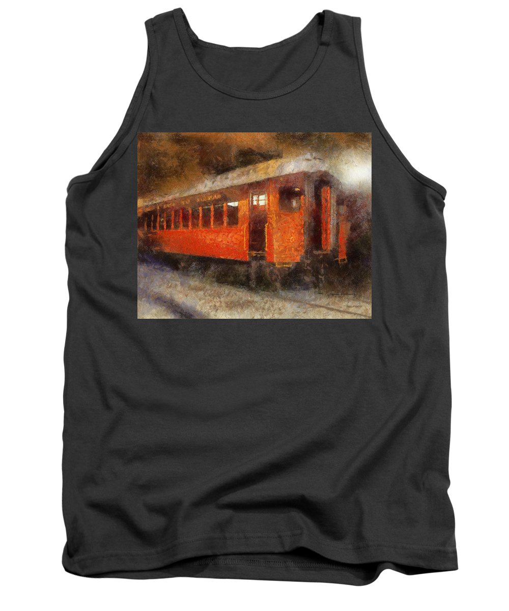 Transportation Tank Top featuring the photograph Railroad Gary Flyer Photo Art 02 by Thomas Woolworth
