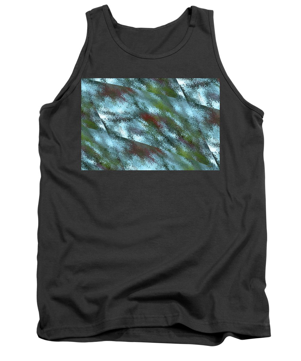 Rain Tank Top featuring the digital art Rainy Day In Blue by Angela Stanton