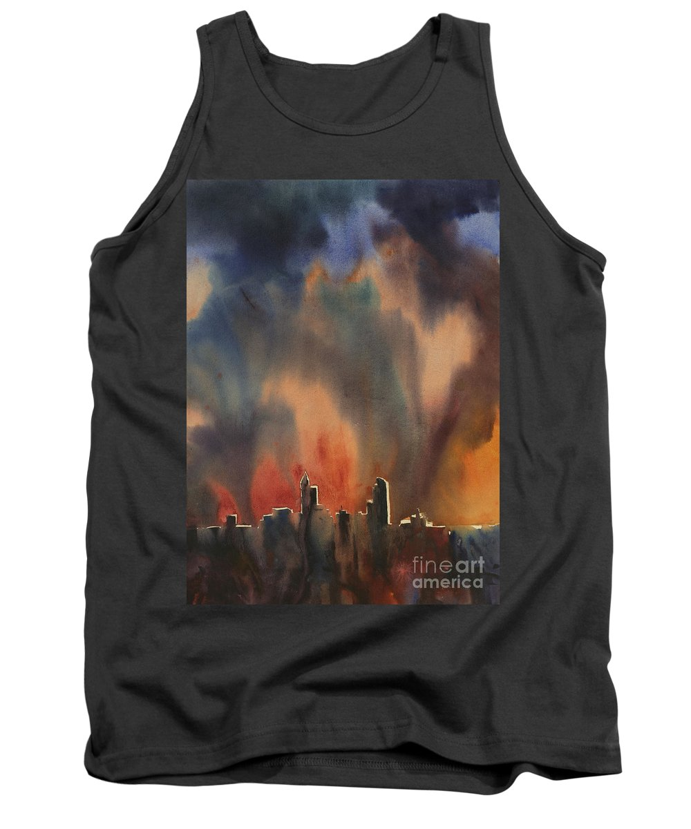 Art Prints Tank Top featuring the painting Raleigh Thunderstorm by Ryan Fox