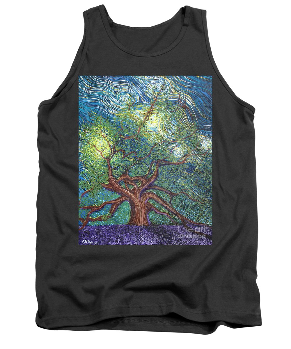 Tree Tank Top featuring the painting Reaching For The Stars by Stefan Duncan