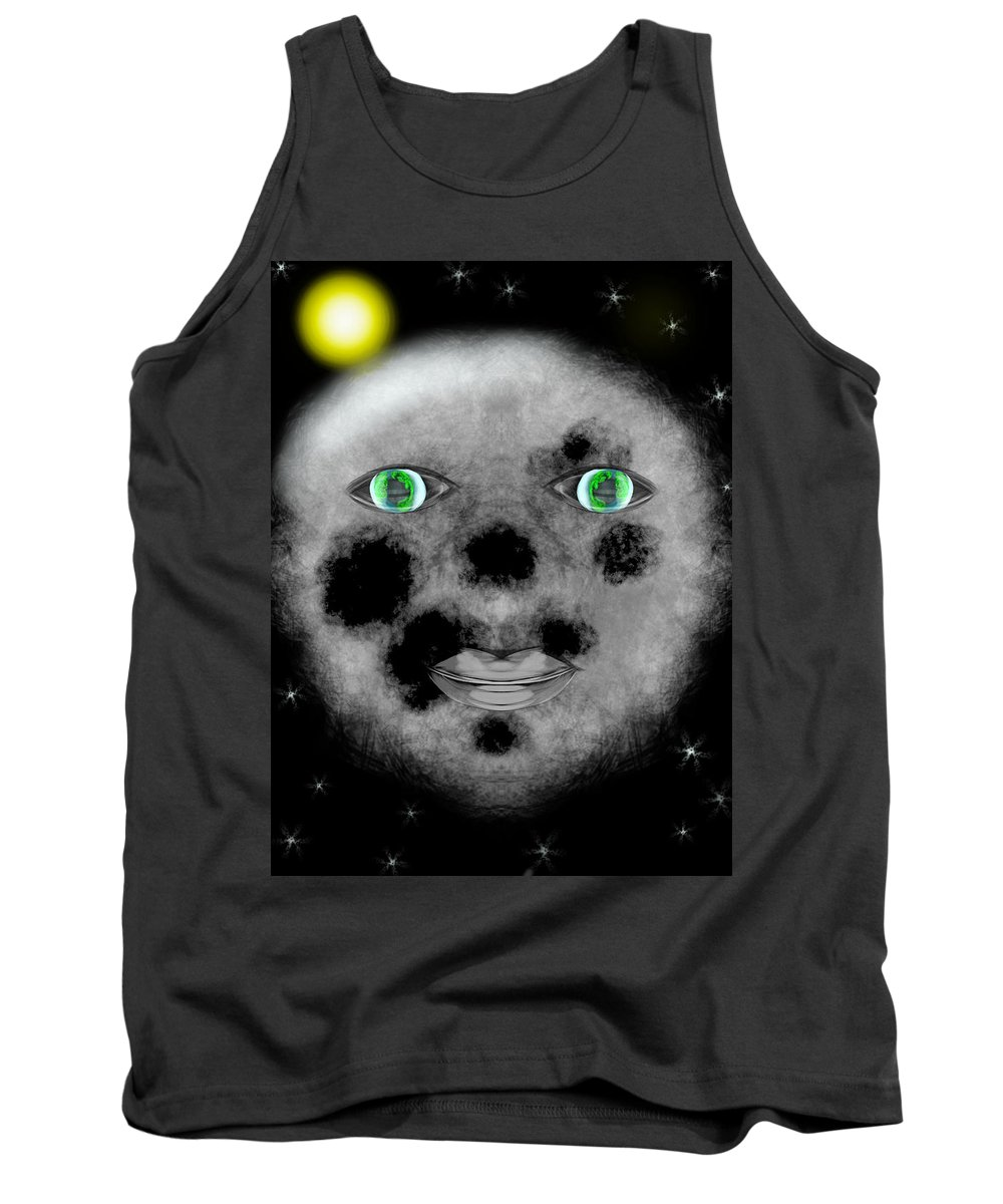 Moon Tank Top featuring the digital art Real Love In Her Eyes by Mathieu Lalonde