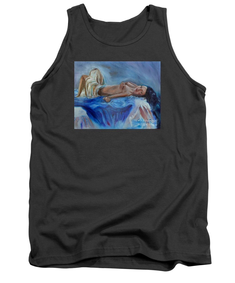 Sleeping Beauty Tank Top featuring the painting Reclining Beauty 111 by Jenny Lee