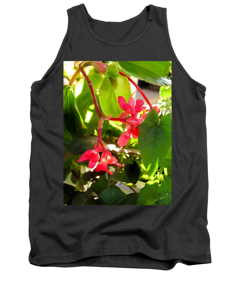 Red Begonia Peaking Through The Leaves Tank Top featuring the photograph Red Begonia Peaking Through The Leaves by Cynthia Woods