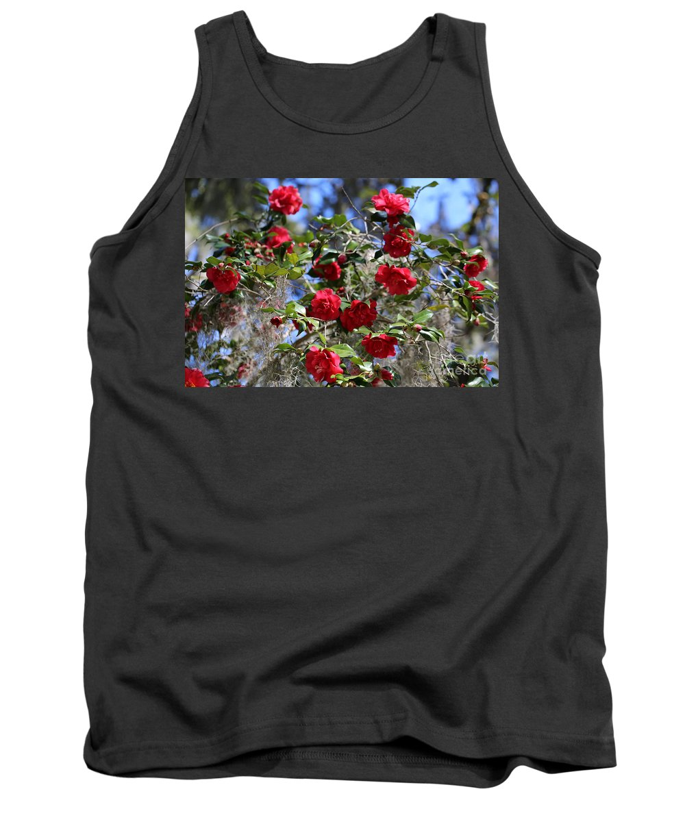 Camellia Tank Top featuring the photograph Red Camellias And Blue Sky by Carol Groenen