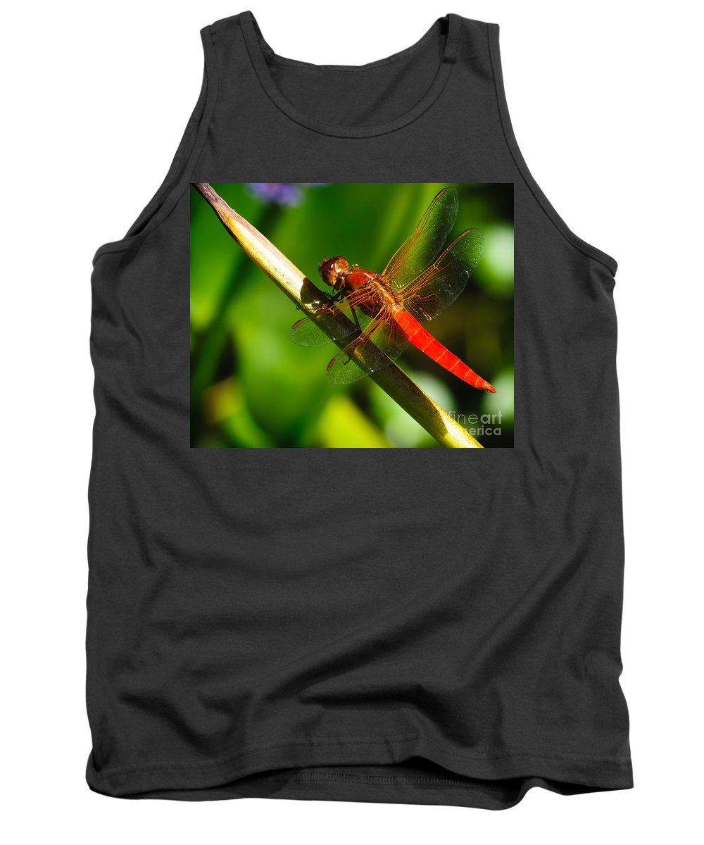 Bug Tank Top featuring the photograph Red Dragonfly by Charles Dobbs