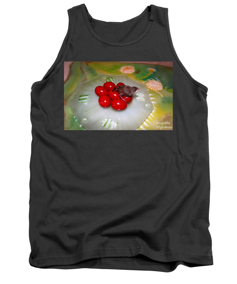 Augusta Stylianou Tank Top featuring the photograph Red Eggs Bird And Flowers by Augusta Stylianou