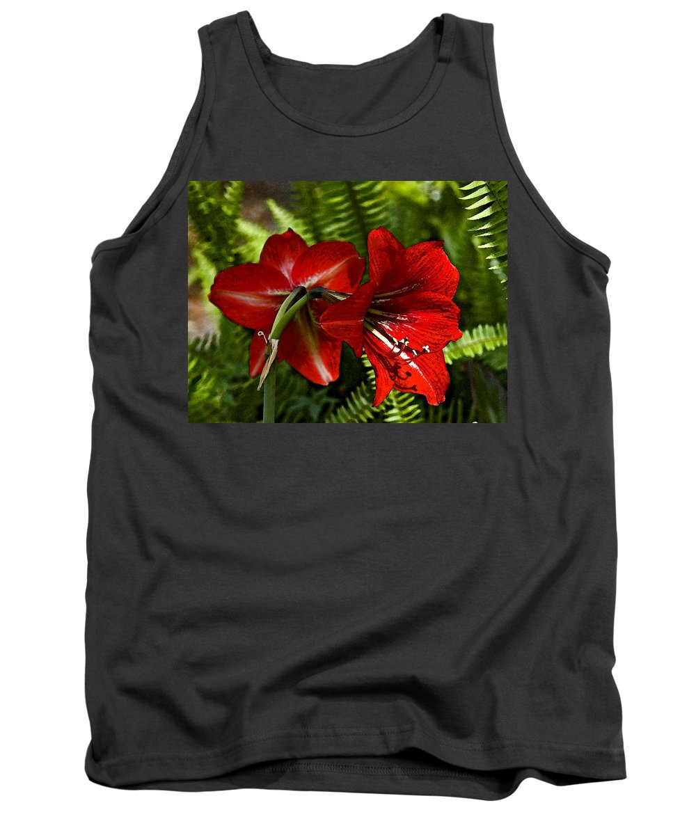 Red Flower Tank Top featuring the photograph Red Lilies For Spring by Norman Johnson