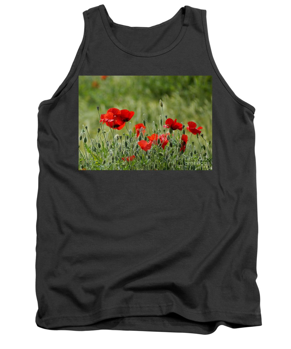 Poppies Tank Top featuring the photograph Red Poppies 3 by Carol Lynch